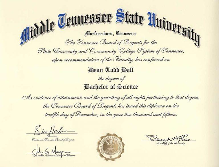 Dean Hall's Philosophy Degree Diploma